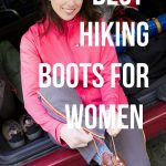 woman ties shoelaces on hiking boots