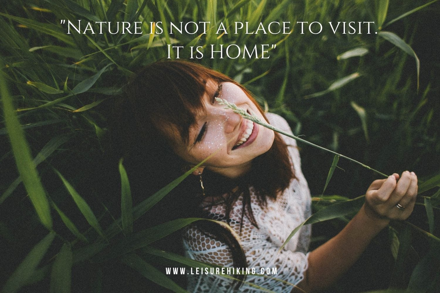 A woman is enjoying nature