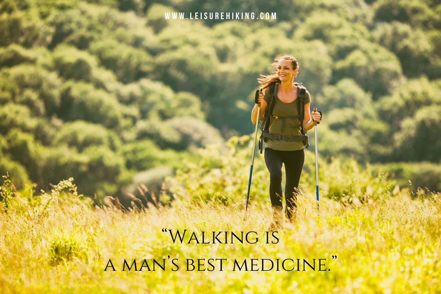 Woman is hiking with the walking sticks