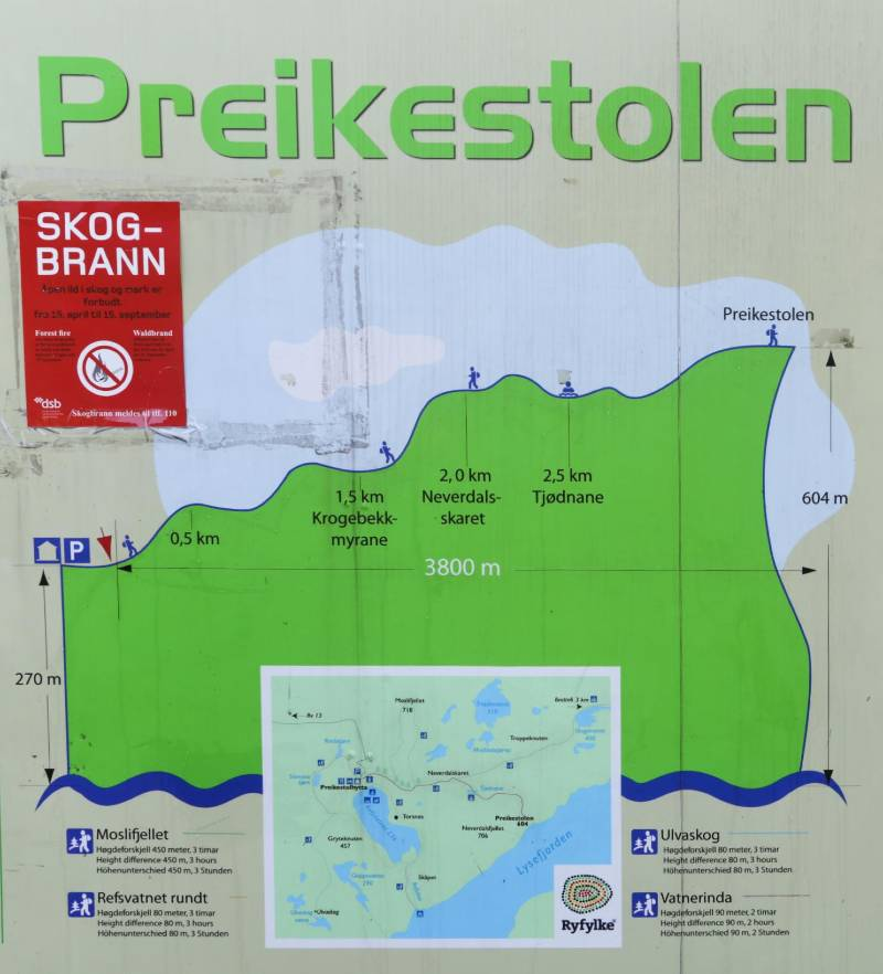 A hiking map to Preikestolen with elevation pitch.