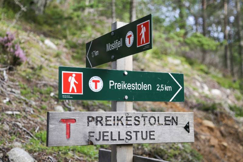 The sign posts showing the distance and the direction to hike to Preikestolen.