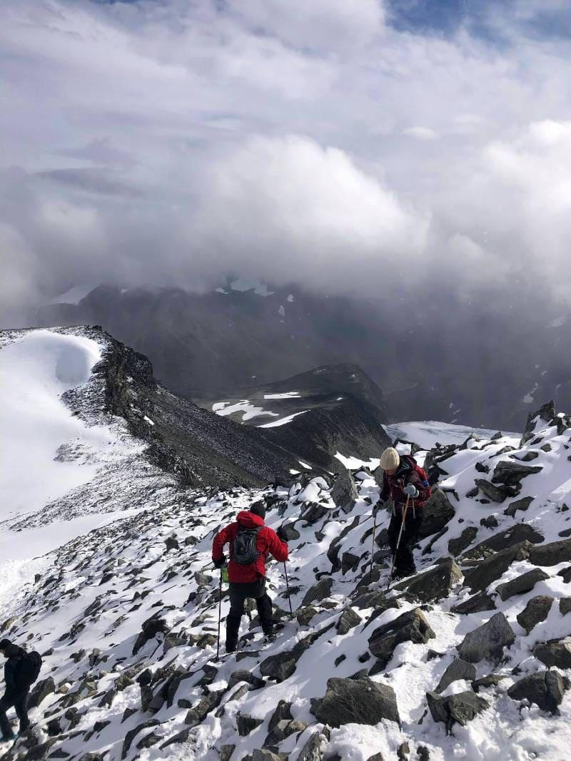 Hiking conditions at Galdhøpiggen in Jotunheimen in Norway