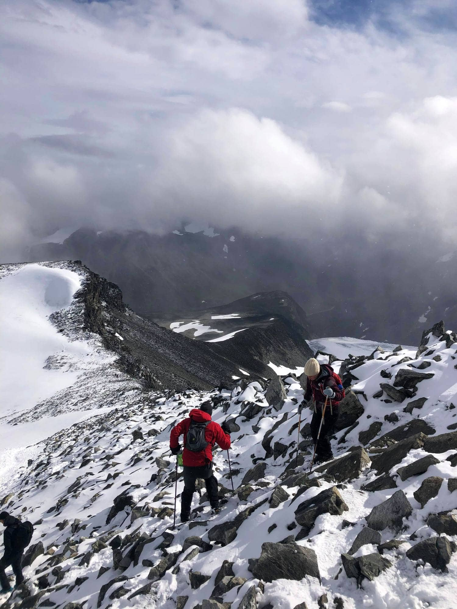 Hiking conditions at Galdhøpiggen in Jotunheimen in Norway