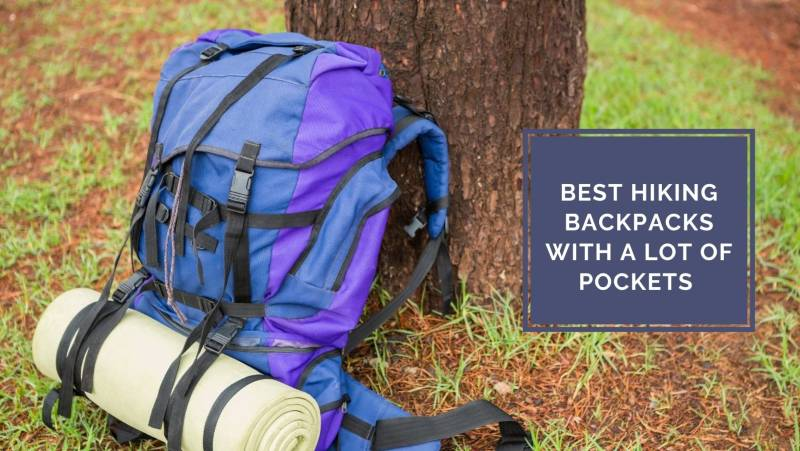 Hiking backpack with a lot of pockets