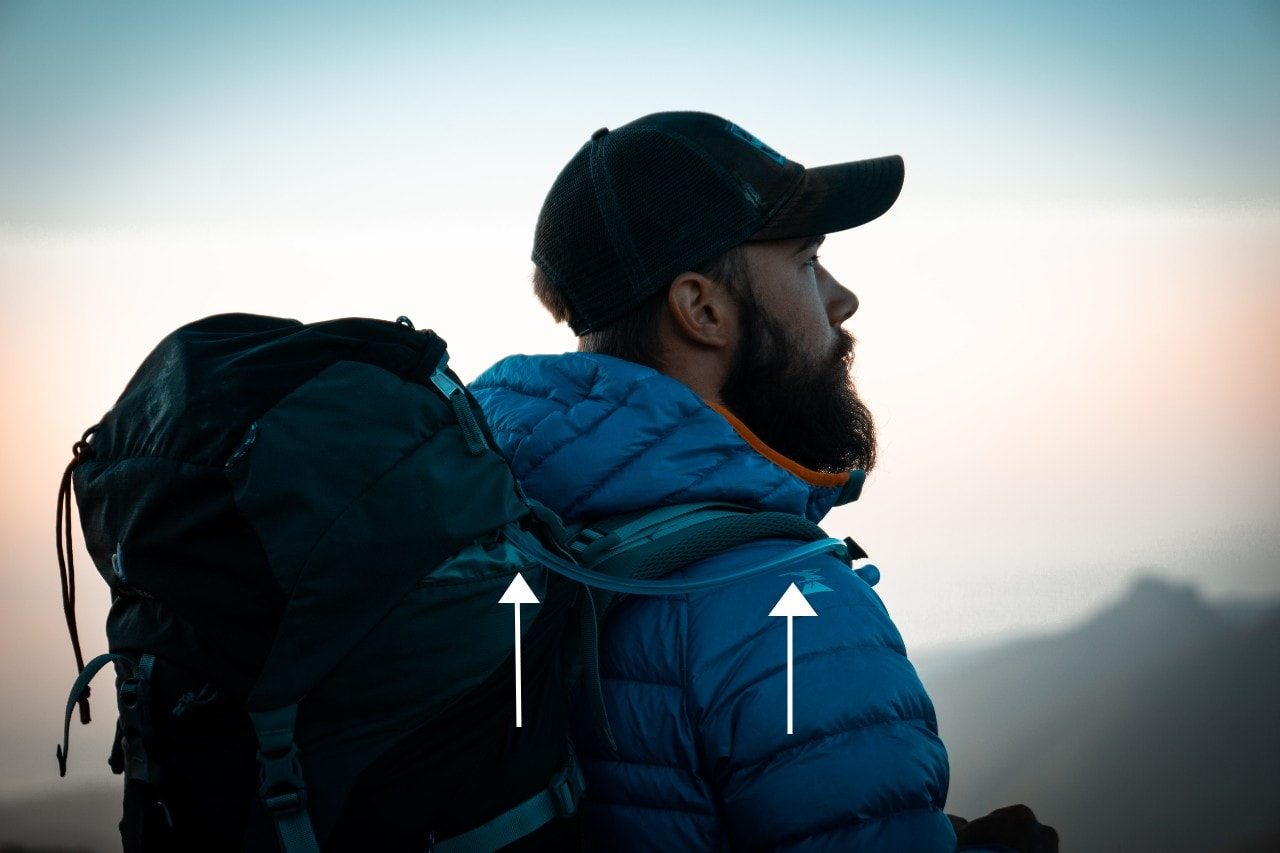 a man with hydration pack